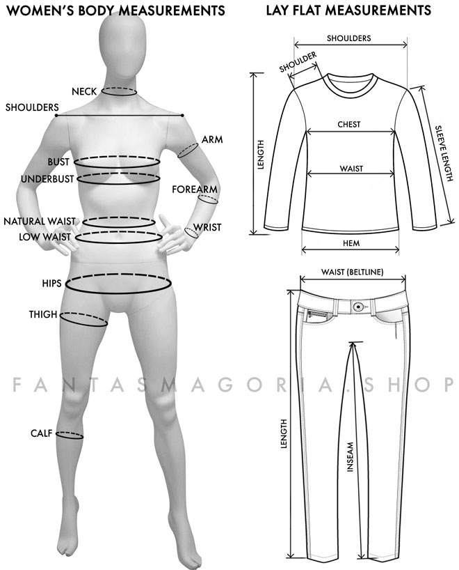 Women's clothing size measuring guide
